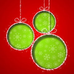 Abstract Xmas greeting card with green Christmas balls