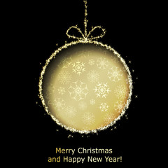 Abstract Xmas greeting card with golden Christmas ball cutted fr