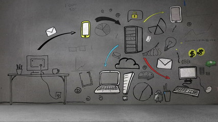 Animation showing influence of mail and developed business plan