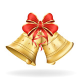 Christmas bells with red bow on white background. Xmas decoratio