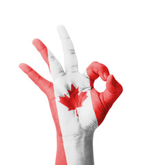 Hand making Ok sign, Canada flag painted