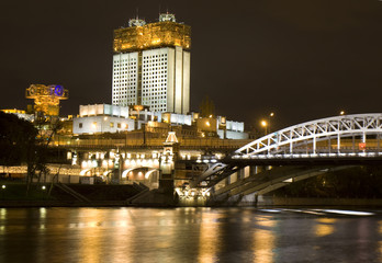Moscow, building of Academy of Science at night