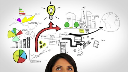 Colored animation showing business plan and a woman watching