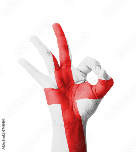 Hand making Ok sign, England flag painted