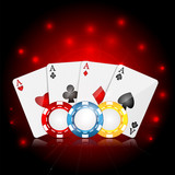 playing cards and poker chips on a red sparkling  background.cas