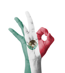 Hand making Ok sign, Mexico flag painted