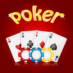 playing cards and poker chips on a red  background.casino backgr