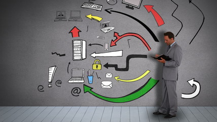 Businessman with diary organizing business icons