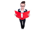 Funny businesswoman with red folder on white