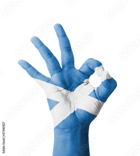 Hand making Ok sign, Scotland flag painted