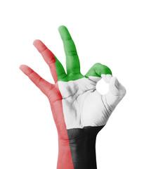 Hand making Ok sign, UAE (United Arab Emirates) flag painted