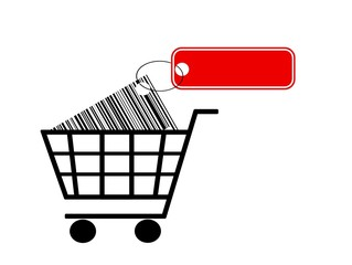 shopping cart with label