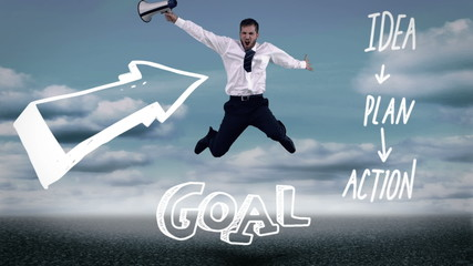 Businessman jumping over business plan