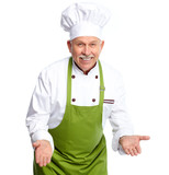Chef inviting at restaurant.