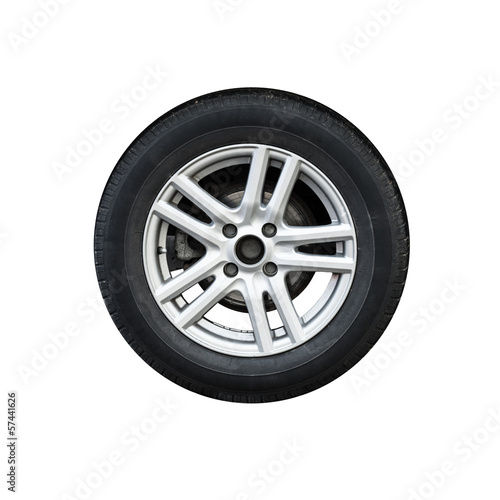 Photo of usual automotive wheel isolated on white