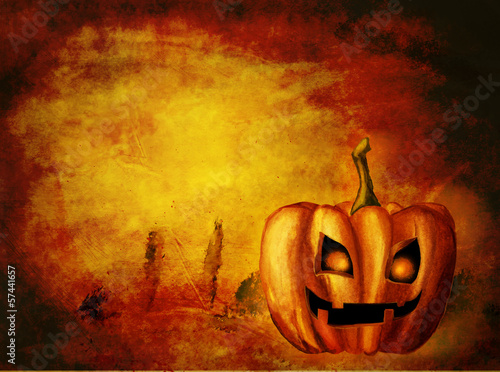Background with halloween luminous pumpkin