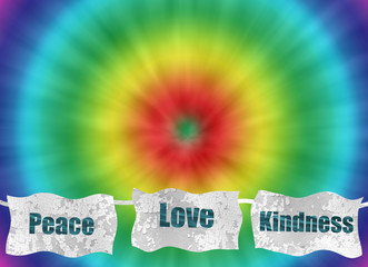 peace love and kindness retro tie-dye background