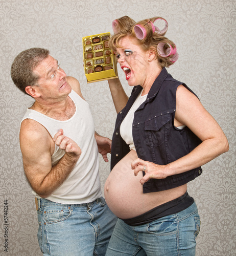 Angry Pregant WomanThrowing Candy