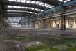 Leinwanddruck Bild - Baufällige Halle