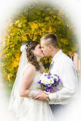 bridal couple walks in autumn