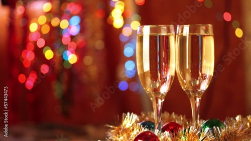 Two Flutes with Sparkling Champagne over Holiday Bokeh