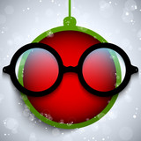 Merry Christmas Red Ball with Glasses