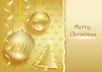Christmas background from balls, Christmas trees and streamers