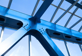 Steel beams. Fragment modern construction.