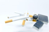 cigaret and lighter isolated on white background