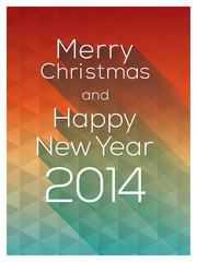 Merry Christmas and Happy New Year 2014 words on colorful abstra