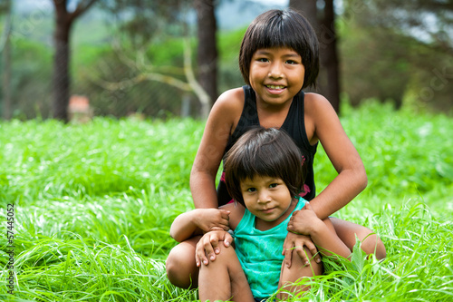 Two bolivian girls outdoors.