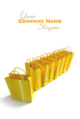 line of yellow shopping bags
