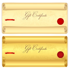 Gift certificate, Voucher, Coupon, Scroll template. Old paper