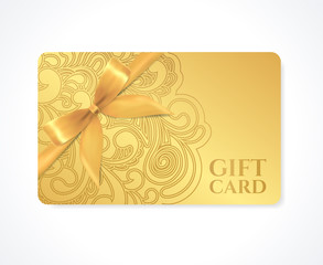 Gift card, discount card, coupon, ticket. Gold floral pattern