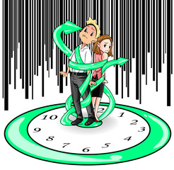 Humans are imprisoned by time (vector)