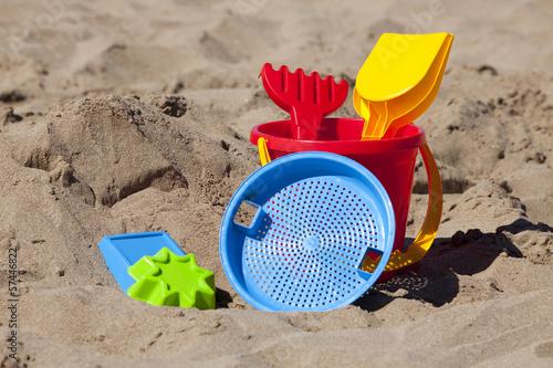 canvas print picture Nahaufnahme von Strandspielzeug