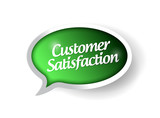 customer satisfaction message on a speech bubble