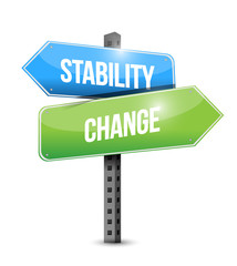 stability and change road sign illustration design