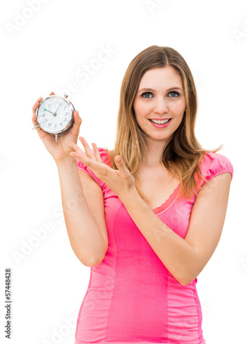 woman holding a clock on a white background