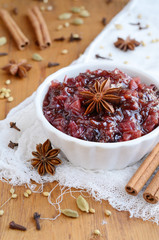 Homemade plum chutney and spices