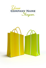 Pair of shopping bags in green and yellow