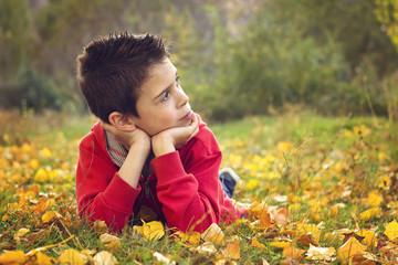Niño tumbado en el suelo cubierto con hojas de otoño