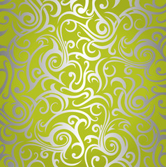 Green  & silver  shining vintage wallpaper design