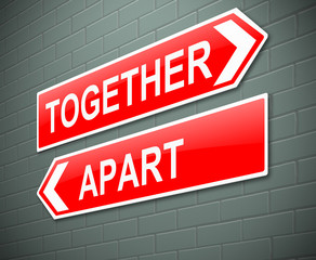 Together or apart concept.