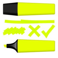 Textmarker gelb mit Markierungen