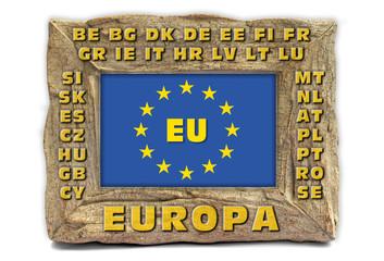 EU Fahne und Logo in Steinrahmen mit Ländercoden