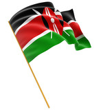 3D flag of Kenya