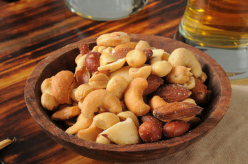 Mixed nuts and beer