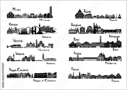 10 cities of Italy  - silhouette signts