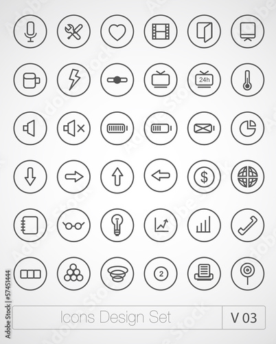 Vector thin icons set. Simple line icons. Ultra thin. Volume 3